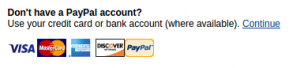 PayPal credit card continue